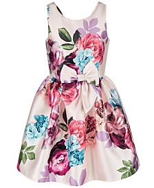 Pink & Violet Big Girls Bow-Front Floral-Print Dress