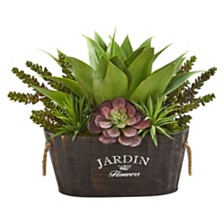 Nearly Natural Succulent Garden in Wood Planter