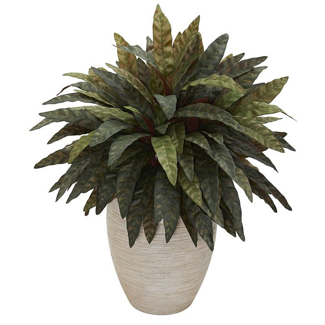 Nearly Natural Peacock Artificial Plant in Sand Colored Oval Planter