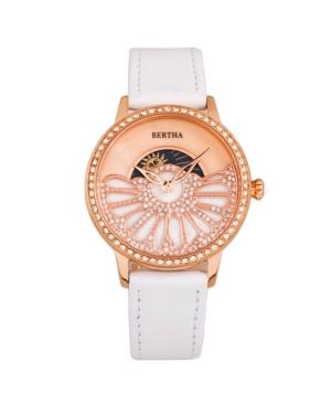 Bertha Quartz Adaline White Genuine Leather Watch, 37mm