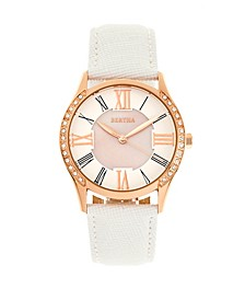 Quartz Sadie White Genuine Leather Watch, 36mm