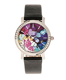 Quartz Vanessa Black Genuine Leather Watch, 36mm