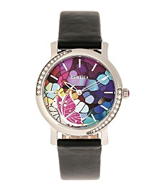 Bertha Quartz Vanessa Black Genuine Leather Watch, 36mm