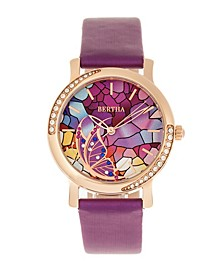 Quartz Vanessa Purple Genuine Leather Watch, 36mm
