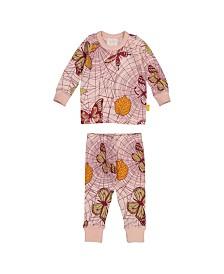 Masala Baby Girls Organic Cotton Kids Long sleeve Pajamas Spiderweb Powder