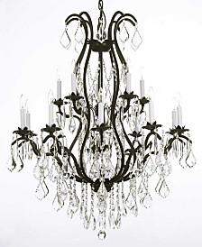 Versailles 15-Light Black Wrought Iron and Crystal Chandelier