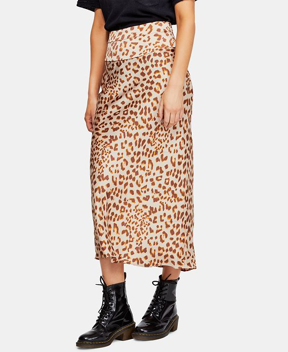 Free People Normani Bias-Printed Skirt