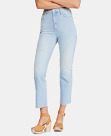 Free People High-Rise Raw-Hem Capri Jeans
