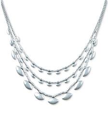 """Lucky Brand Silver-Tone Scallop Collar Necklace, 17"""" + 2"""" extender"""
