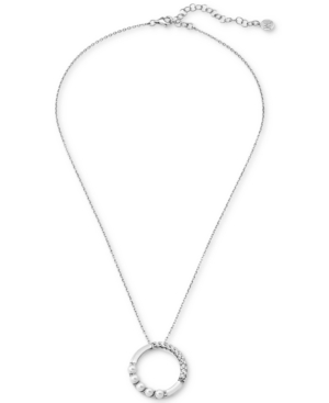 "Majorica Accessories CRYSTAL & IMITATION PEARL CIRCLE PENDANT NECKLACE IN STERLING SILVER, 16"" + 2"" EXTENDER"