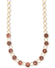 "DKNY Gold-Tone Link & Crystal Collar Necklace, 16"" + 3"" extender"