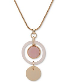 "DKNY Gold-Tone Crystal & Resin Adjustable 42"" Pendant Necklace, Created for Macy's"