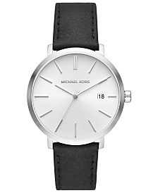 Michael Kors Men's Blake Black Leather Strap Watch 42mm