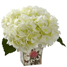 Nearly Natural Hydrangea Silk Arrangement w/ Floral Planter