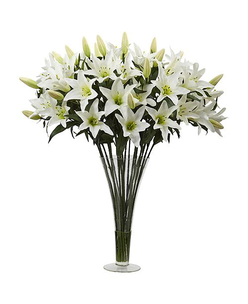 Nearly Natural Lily Silk Arrangement w/ Flared Glass Vase