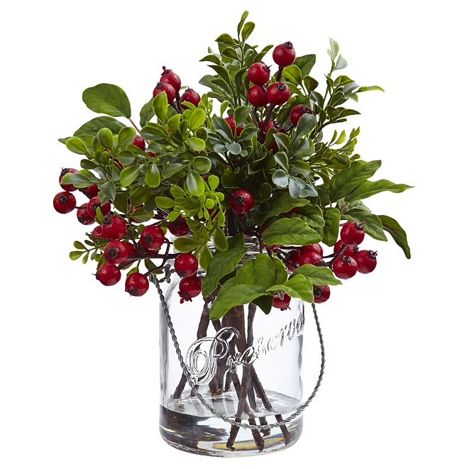 Nearly Natural Berry Boxwood in Glass Jar