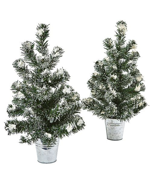 "Nearly Natural Snowy 18"" H Mini Pine Trees w/ Tin Planters, Set of 2"