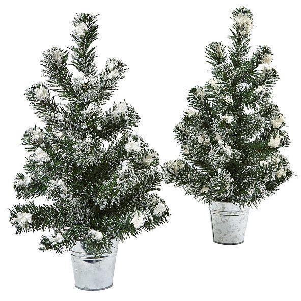 "Nearly Natural Snowy 18"" H Mini Pine Trees w/ Tin Planters, Set of 2"