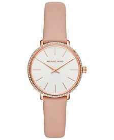 Michael Kors Women's Mini Pyper Blush Leather Strap Watch 32mm
