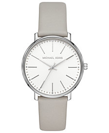Michael Kors Women's Pyper Gray Leather Strap Watch 38mm