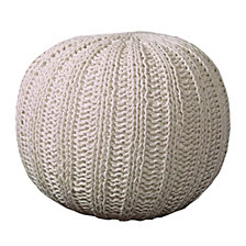 LR Home Array Isle Bone Knitted Pouf Ottoman