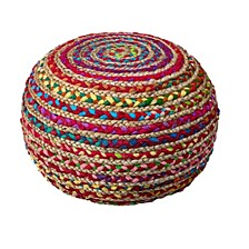 Recycled Natural Braided Pouf
