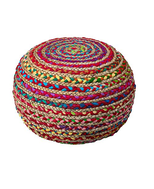 LR Home Recycled Natural Braided Pouf