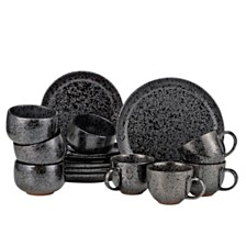 Over and Back Noir 16 Piece Dinnerware Set