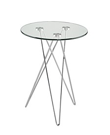 Zoey Round Side Table in Tempered Glass with Chrome Base