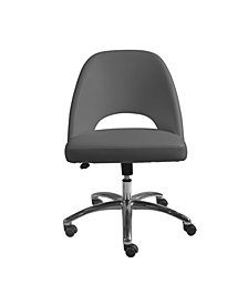 Teague Low Back Office Chair with Polished Aluminum Base