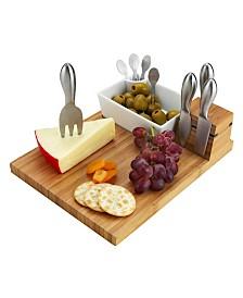 Picnic at Ascot Buxton Bamboo Cheese Board Set with 4 Tools