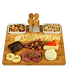 Picnic at Ascot Sherborne Large Bamboo Cheese Board Set with 4 Tools and 2 Bowls