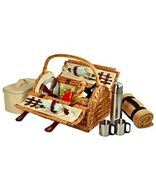Picnic at Ascot Sussex Willow Picnic Basket -Service for 2, Coffee Set, Blanket