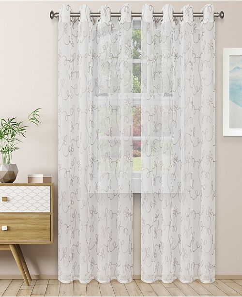 "Superior Lightweight Scroll Sheer Curtain Panels, (2), 52"" x 108"""