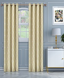 "Soft Quality Woven, Imperial Trellis Blackout Thermal Grommet Curtain Panel Pair, Set of 2, 52"" x 63"""