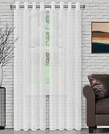 "Lightweight Lattice Sheer Curtain Panels, Set of 2, 52"" x 84"""