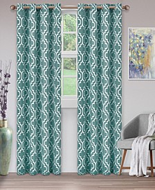 """Soft Quality Woven, Trellis Collection Blackout Thermal Grommet Curtain Panel Pair, Set of 2, 52"""" x 96"""""""
