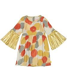 Masala Baby Girls Organic Cotton Simple Dress Pointe Metallic