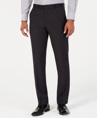 Men's Portfolio Slim-Fit Stretch Black Solid Suit Pants