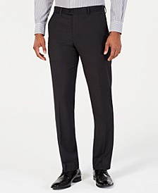 Men's Portfolio Slim-Fit Stretch Black Solid Suit Pants