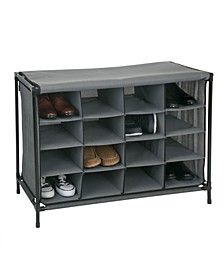 16 Compartment Shoe Cubby in Gray