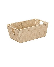 Small Woven Storage Shelf Bin in Ivory