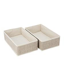 2 Pack Medium Rectangular Compartment Drawer Organizer in Faux Jute