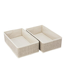 Simplify 2 Pack Medium Rectangular Compartment Drawer Organizer in Faux Jute
