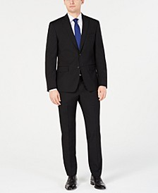 Men's Modern-Fit Stretch Black Solid Suit Separates