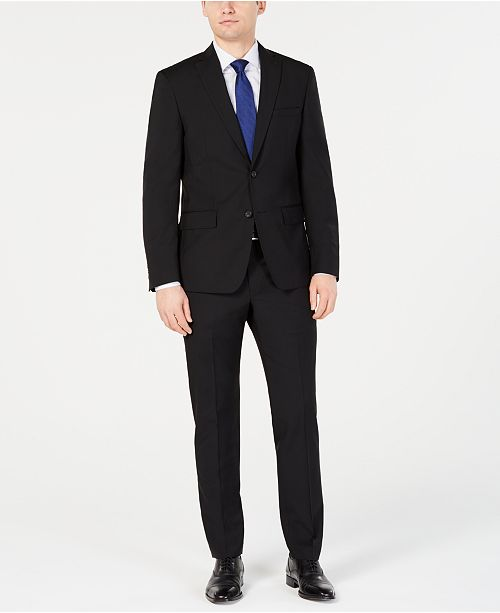 DKNY Men's Modern-Fit Stretch Black Solid Suit Separates