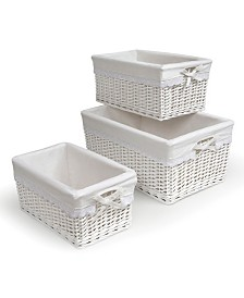 Badger Basket Set of Three Wicker Nursery Baskets with Liners