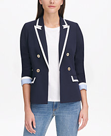 Tommy Hilfiger Piped Double-Breasted Blazer