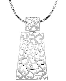 "Bali Signature Carving Sterling Silver Pendant Necklace, 20"" Length"