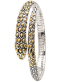 Legend of Snake Signature Sterling Silver Bangle embellished by 18K Gold Accents Dots